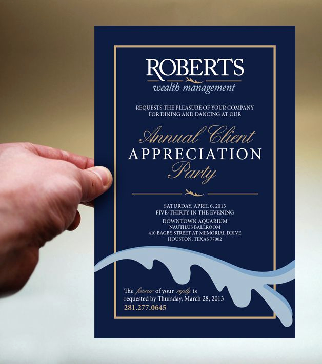 Donor Appreciation event Invitation Inspirational Roberts Wealth Client Appreciation Party Invite by