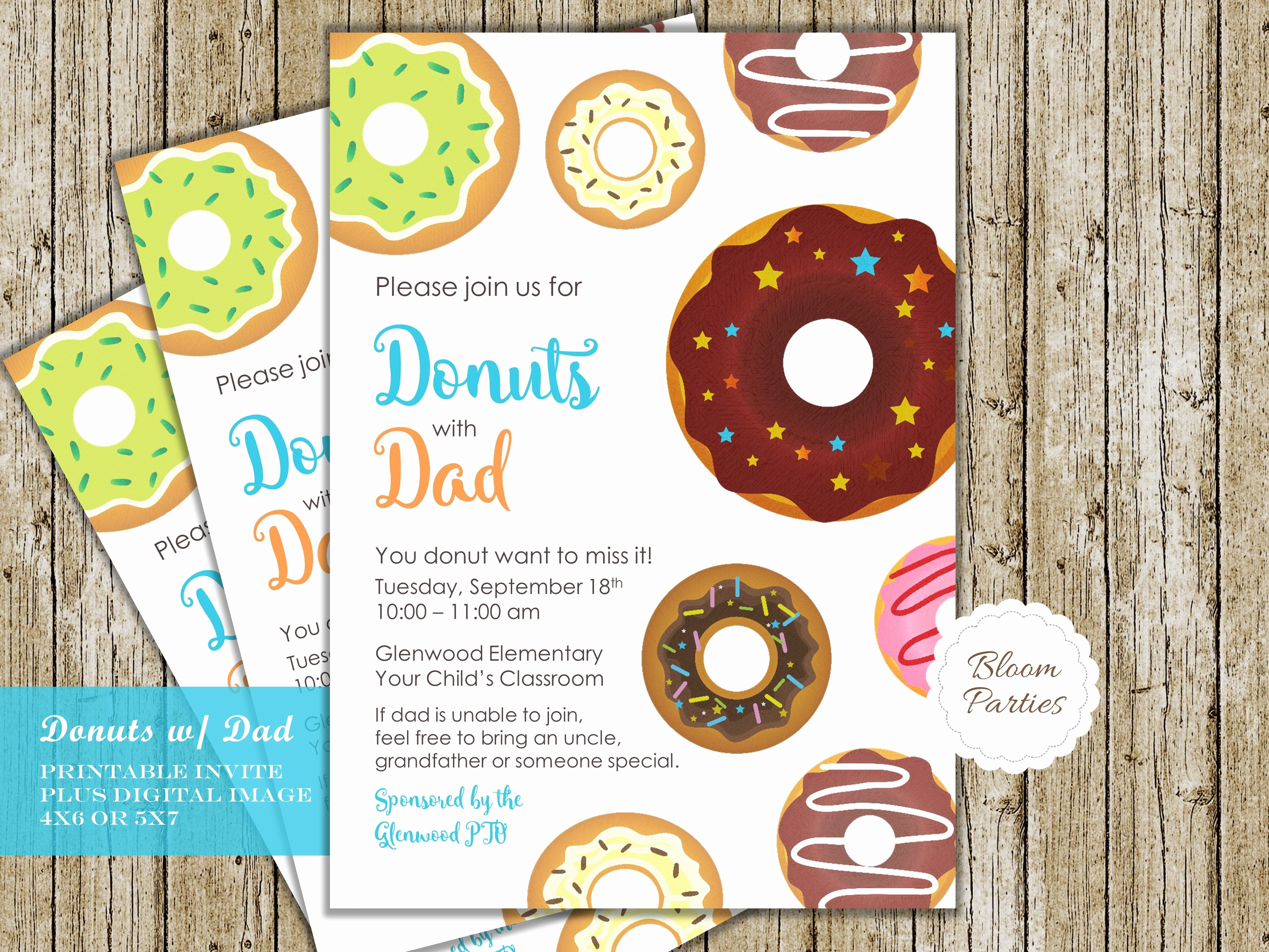 Donuts with Dad Invitation Best Of Donuts with Dad Invitation Pto Pta Announcement School Church