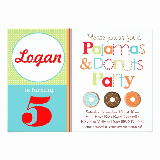 Donuts with Dad Invitation Unique Donuts & Pajamas Party Invitation Boys Invitation Card