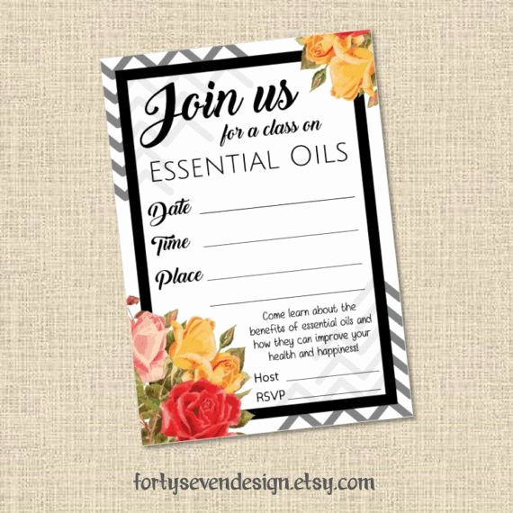 Doterra Essential Oil Class Invitation Luxury Essential Oils Class Printable Invitation 3 5x5 Diy