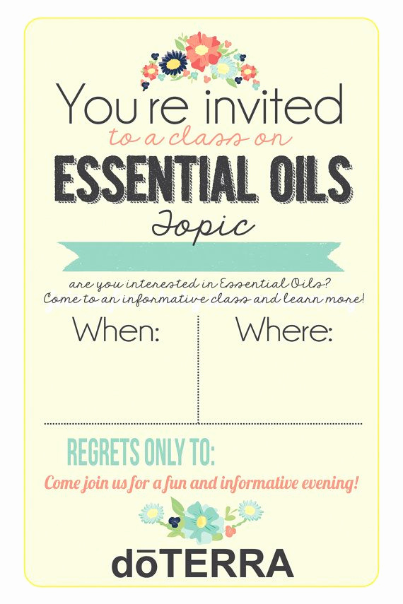 Doterra Essential Oil Class Invitation Unique 4x6 Doterra Class Invitation Instant Download Printable