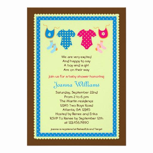 "Double Baby Shower Invitation Wording Elegant Twin Boy and Girl Baby Shower Invitation 5"" X 7"