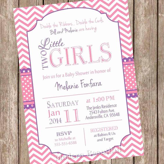 Double Baby Shower Invitation Wording Fresh Twin Girls Baby Shower Invitation Pink and Purple
