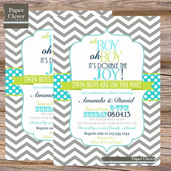 Double Baby Shower Invitation Wording Fresh Twins Baby Shower Invitation Oh Boy Double Joy by Paperclever