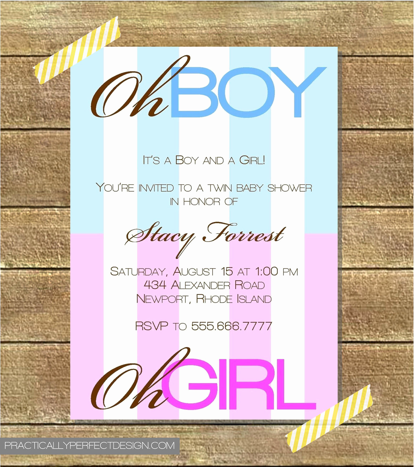 twin baby shower invitation boy and girl