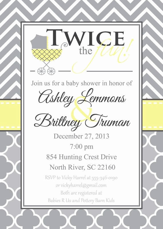 Double Baby Shower Invitation Wording New Double Baby Shower Invitation Gender Neutral Baby by