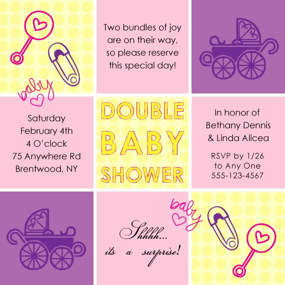 Double Baby Shower Invitation Wording New Items Similar to Double Baby Shower Invitation Yellow