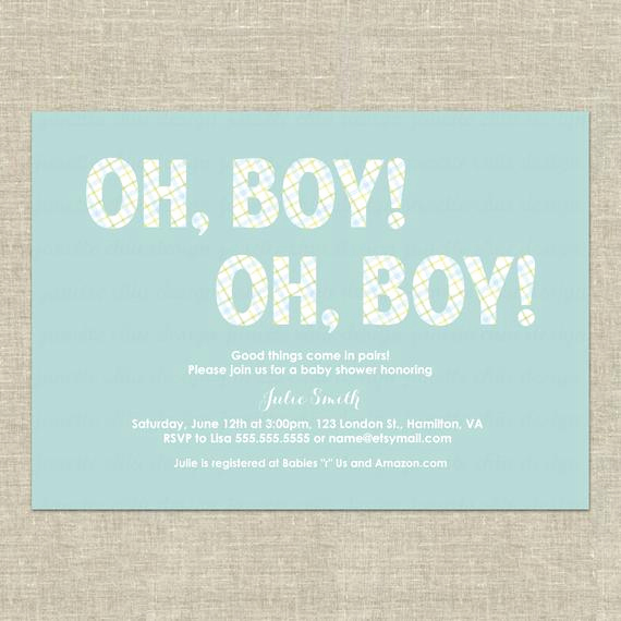 Double Baby Shower Invitation Wording New Twin Boys Baby Shower Invitation Digital by Janettechiudesign