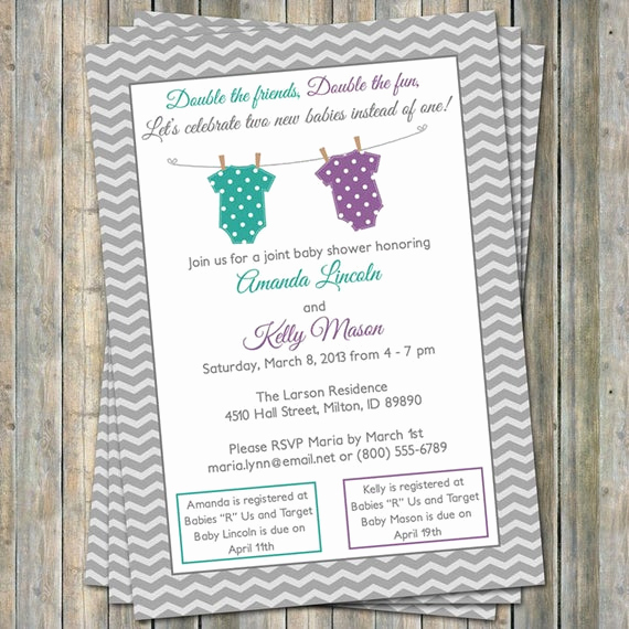 Double Baby Shower Invitation Wording Unique Joint Baby Shower Invitation Polka Dot Onesies Purple and