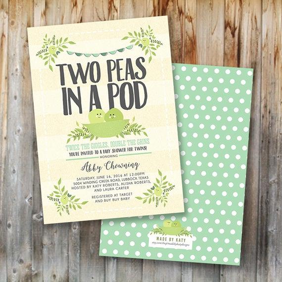 Double Baby Shower Invitation Wording Unique Twin Baby Shower Invitation Two Peas In A Pod Printable