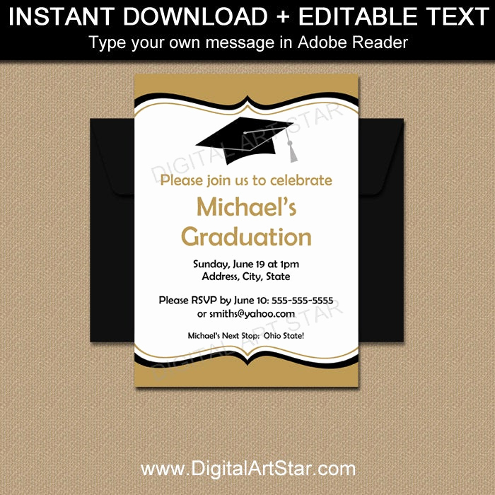 Download Graduation Invitation Template Luxury Editable Graduation Invitations Printable Graduation Party