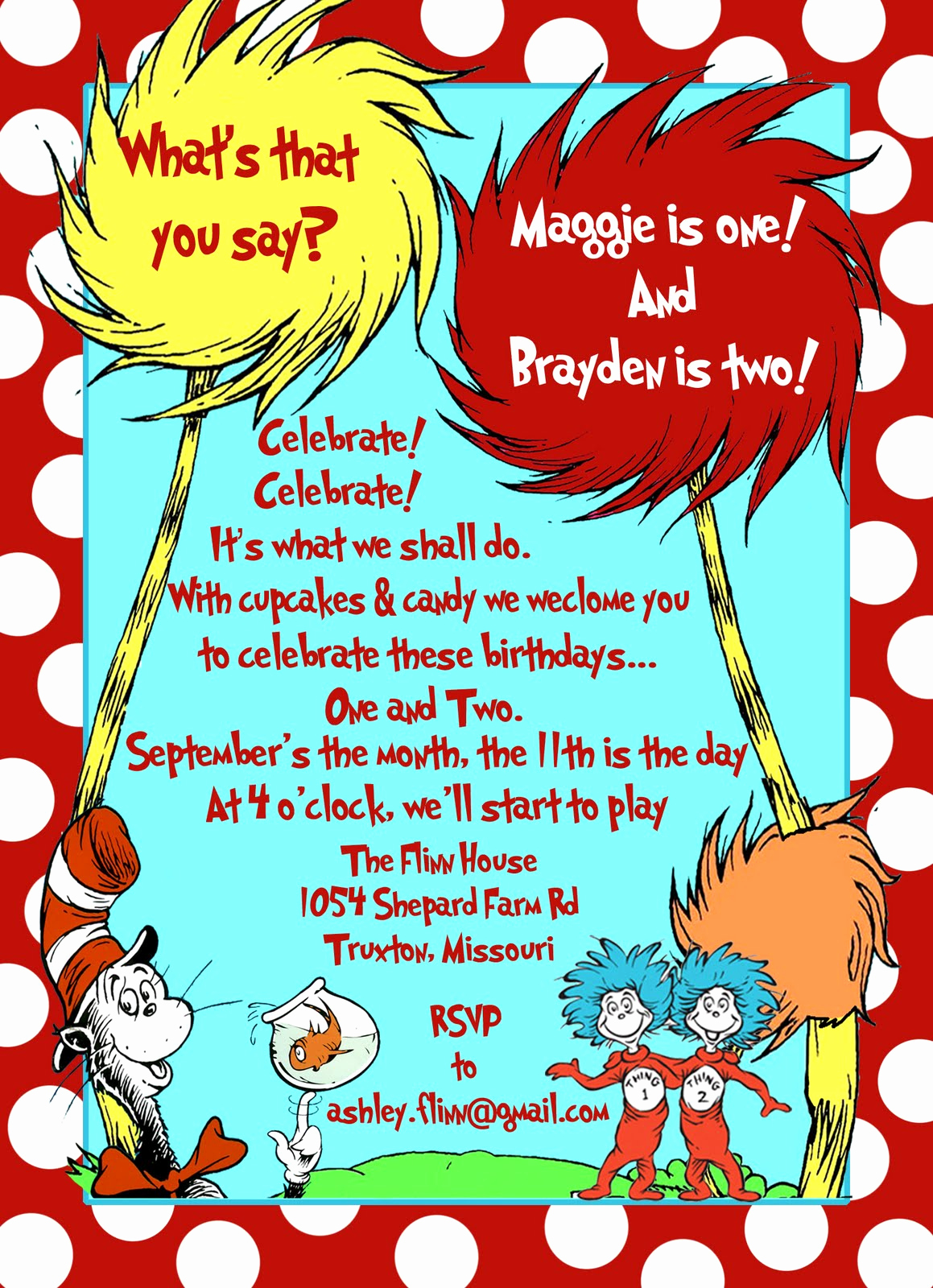 Dr Seuss Birthday Invitation Awesome Humble Hostess Kids Birthday Party Thing 1 and Thing 2