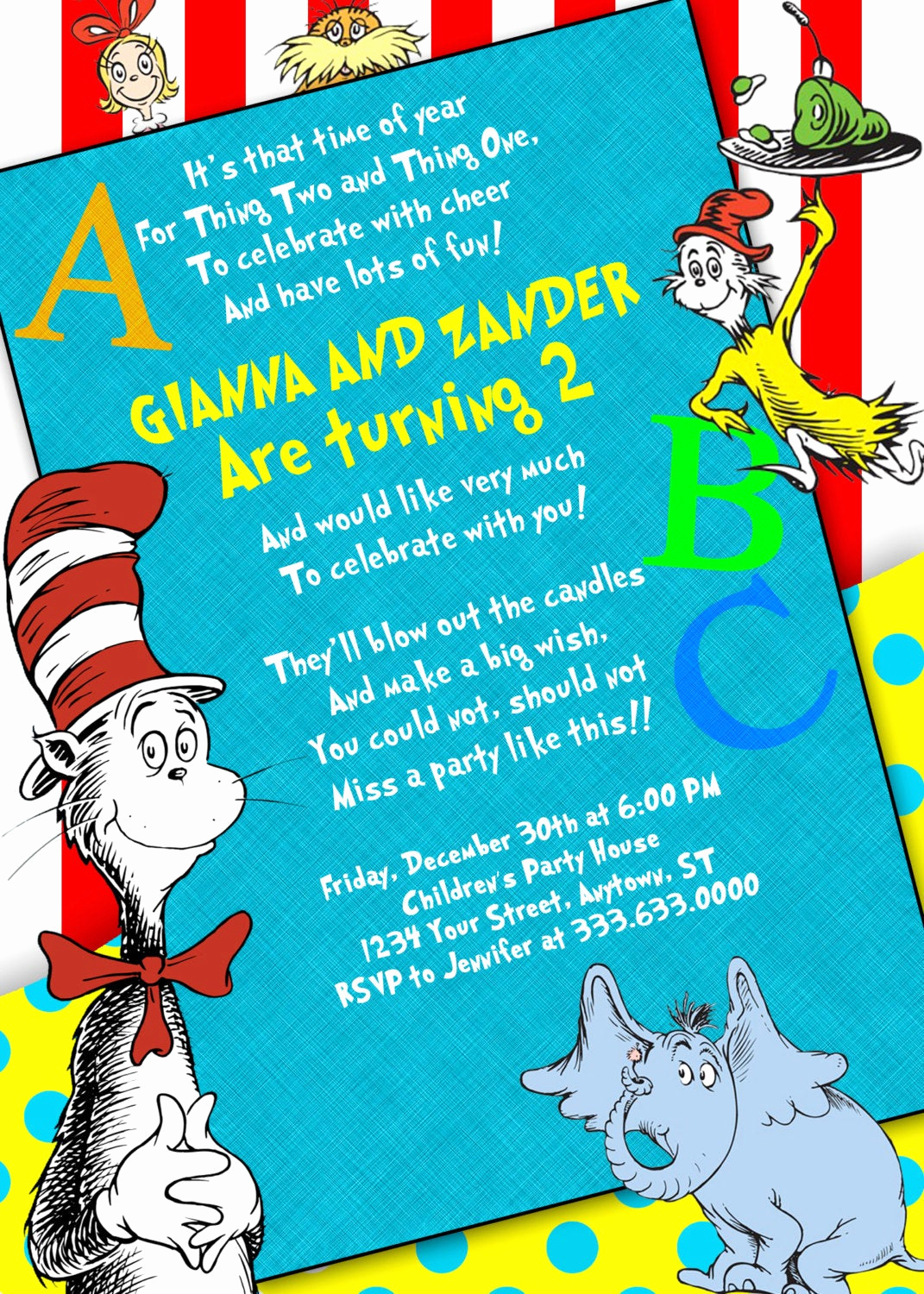 Dr Seuss Birthday Invitation Best Of Unavailable Listing On Etsy