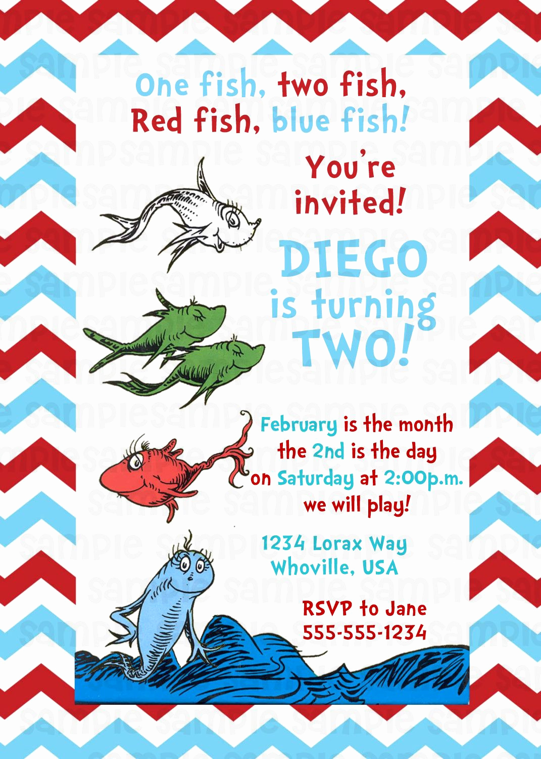 Dr Seuss Birthday Invitation Lovely Dr Seuss E Fish Two Fish Birthday Invitation $11
