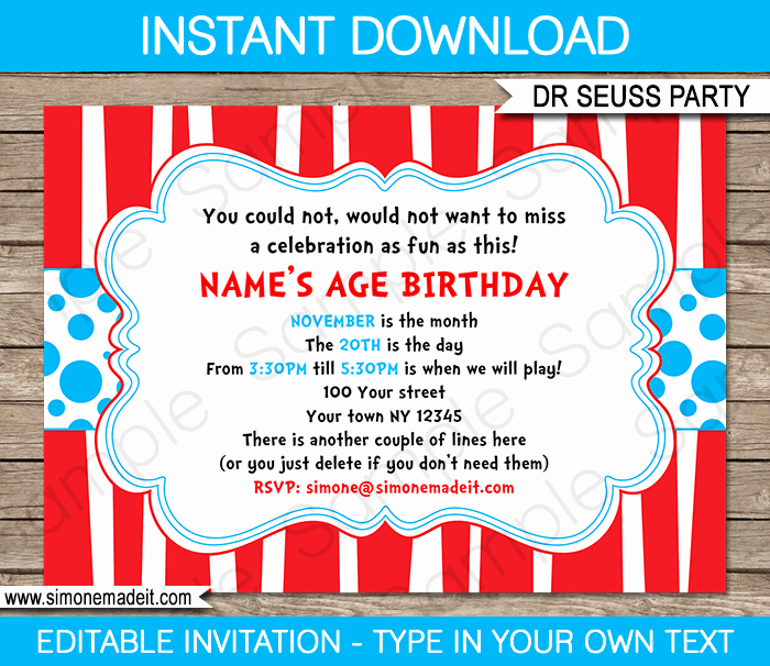 Dr Seuss Birthday Invitation Lovely Dr Seuss Party Invitations Birthday Party