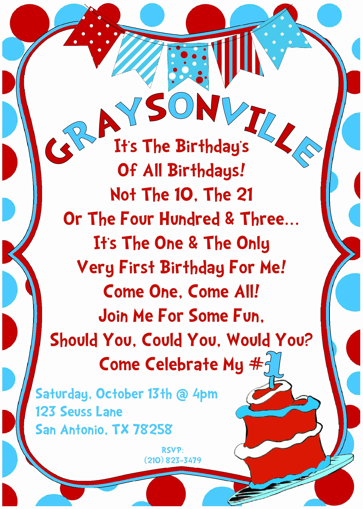 Dr Seuss Birthday Invitation Lovely Invitation 4 1st Birthday Ideas Pinterest
