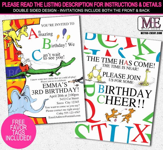 Dr Seuss Birthday Invitation Luxury Dr Seuss Abc Invitation Dr Seuss Invitation Dr Seuss