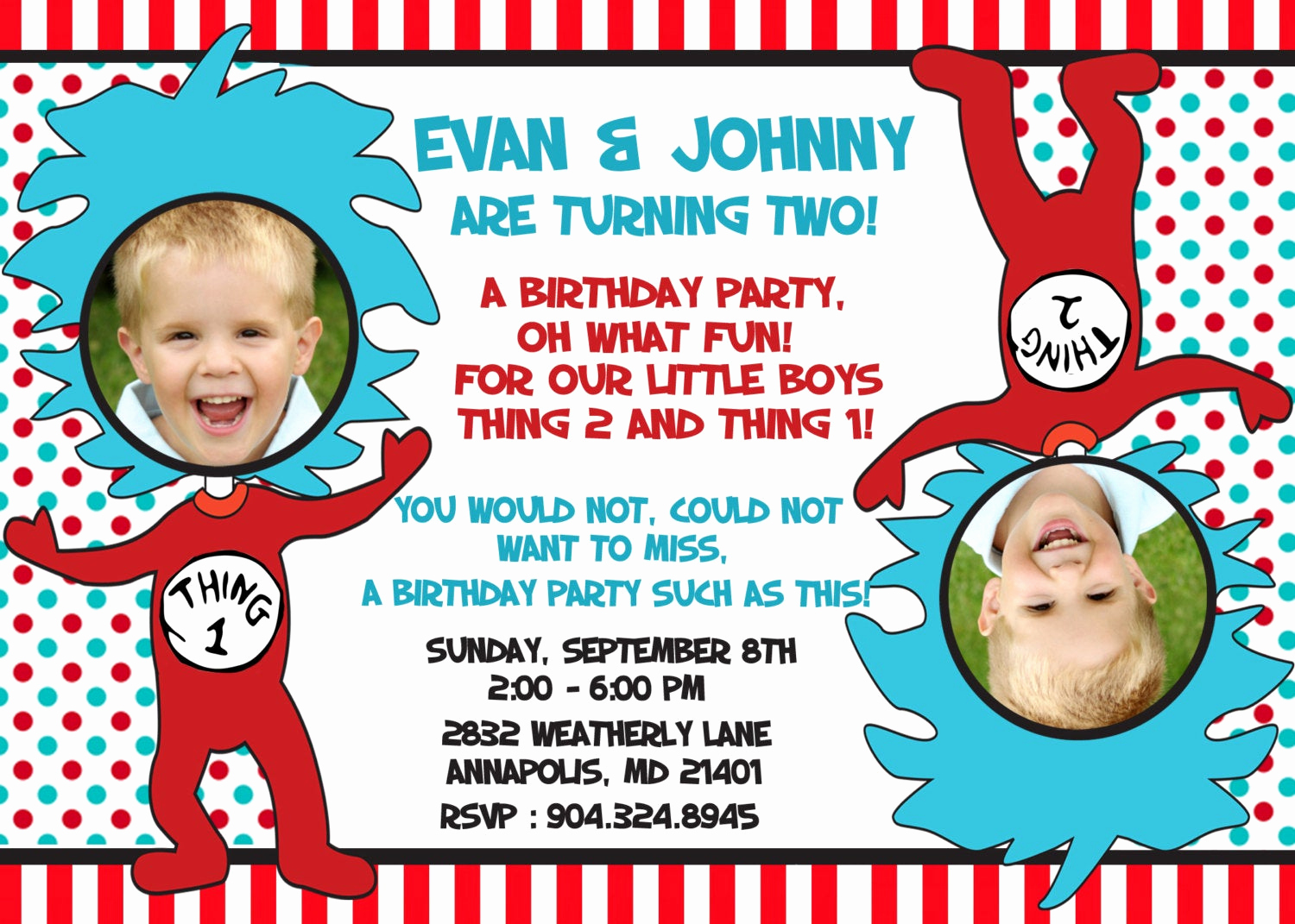 Dr Seuss Birthday Invitation Luxury Dr Seuss Thing 1 Thing 2 Twins Birthday Party Invitation