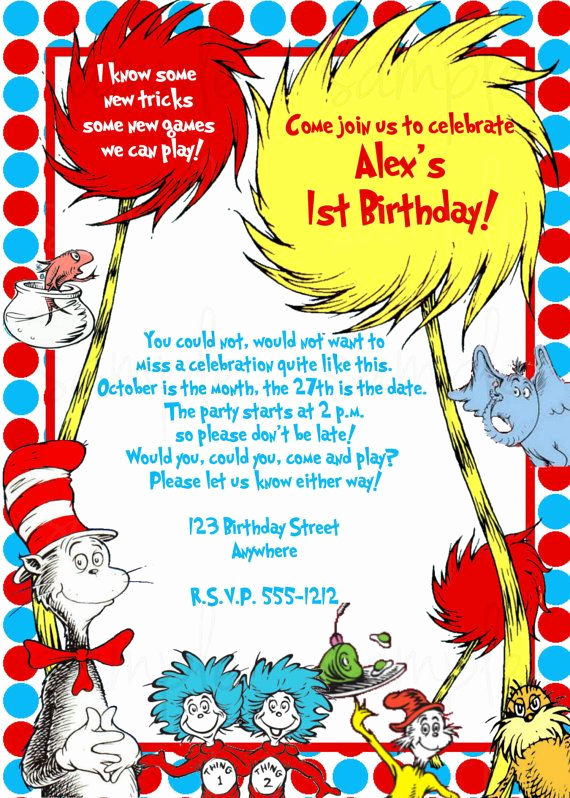 Dr Seuss Birthday Invitation Unique Dr Seuss Birthday Invitation by Lovelifeinvites On Etsy