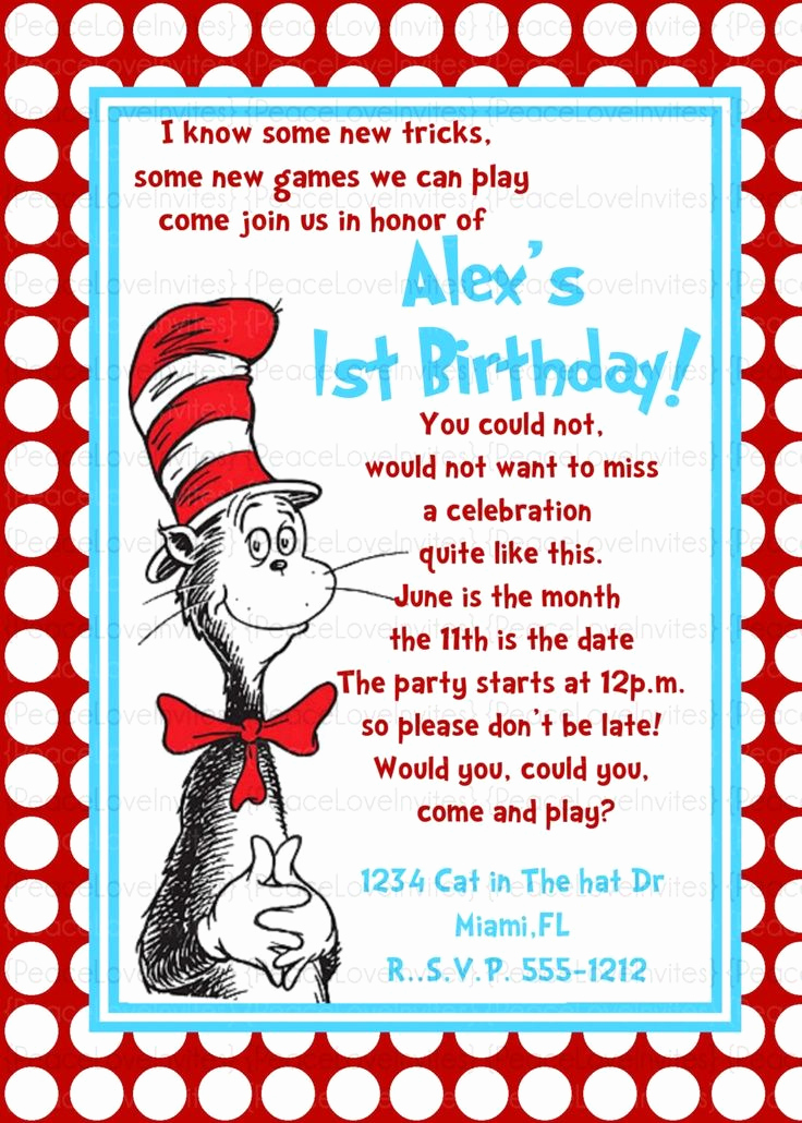 Dr Seuss Birthday Invitation Unique Dr Seuss Birthday Invitation Wording