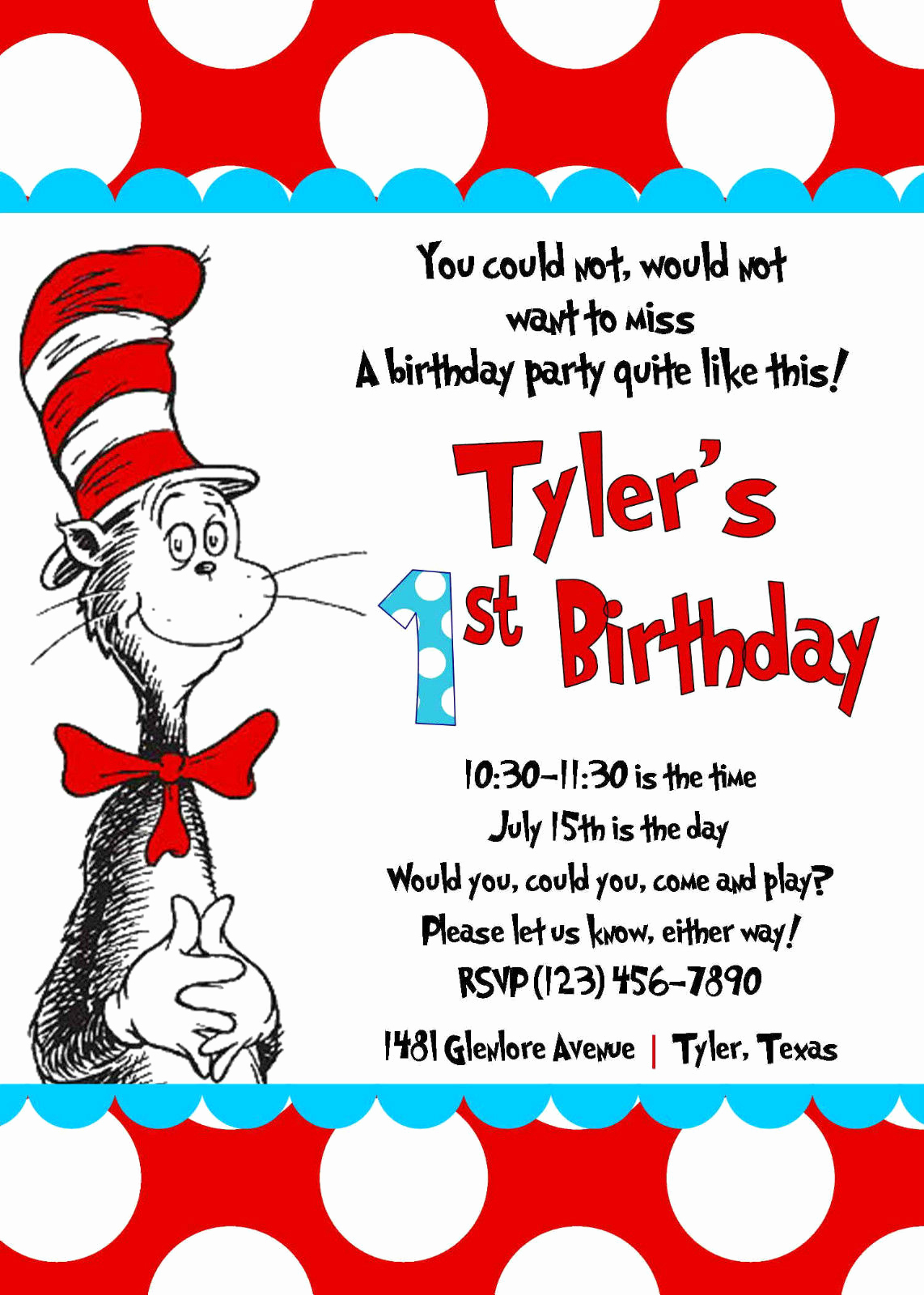 Dr Seuss Birthday Invitation Unique Free Printable Cat In the Hat Birthday Party Invitations