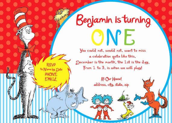 Dr Seuss Invitation Template Awesome Dr Seuss Invitations for 1st Birthday