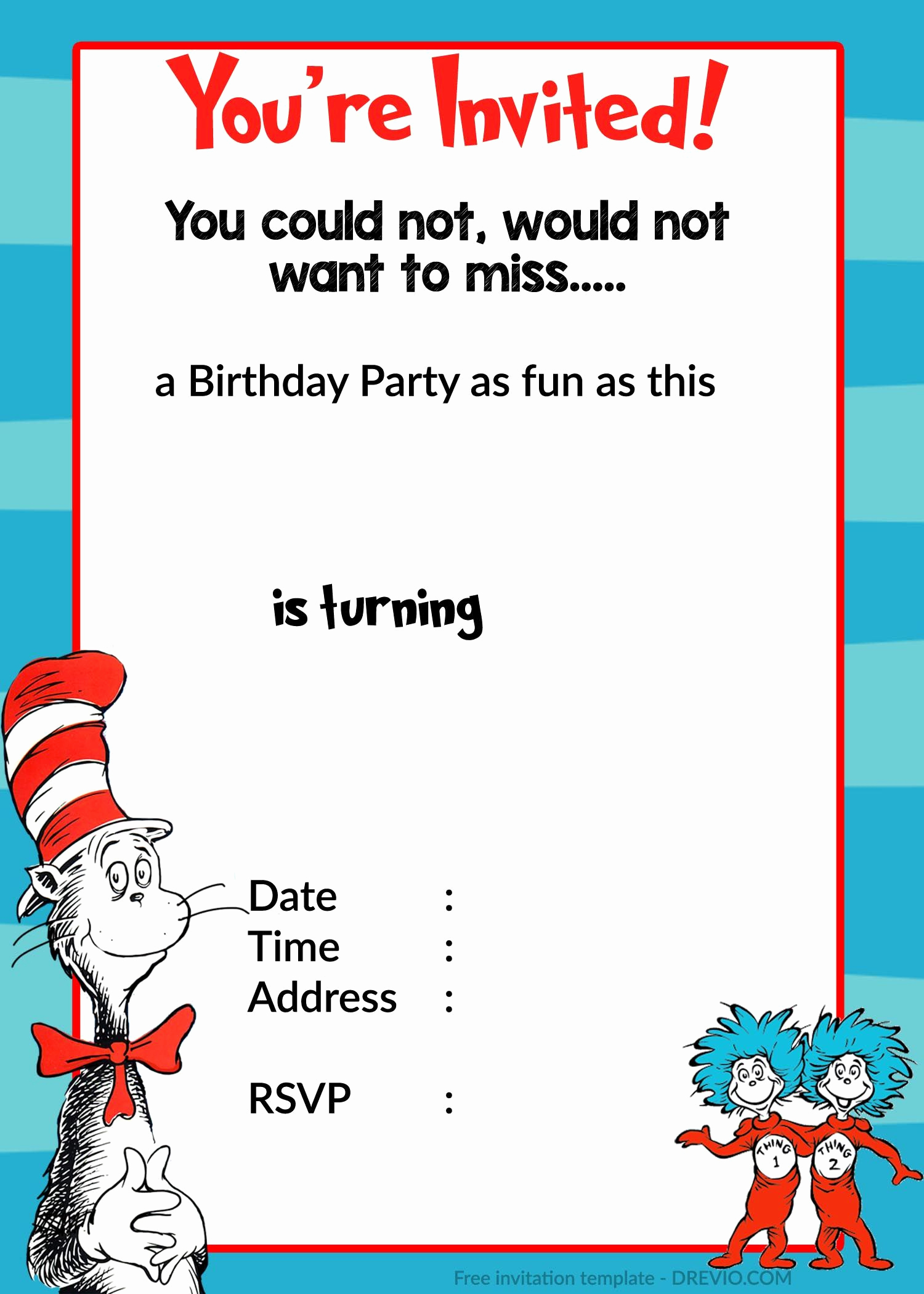 Dr Seuss Invitation Template Awesome Printable Dr Seuss Birthday
