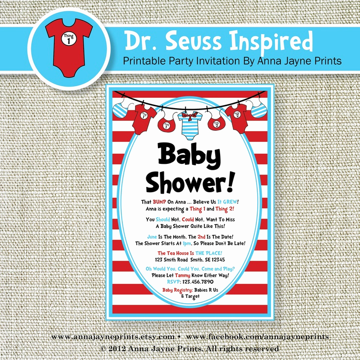 Dr Seuss Invitation Template Awesome Seuss Inspired Baby Shower Invitation Invite Baby