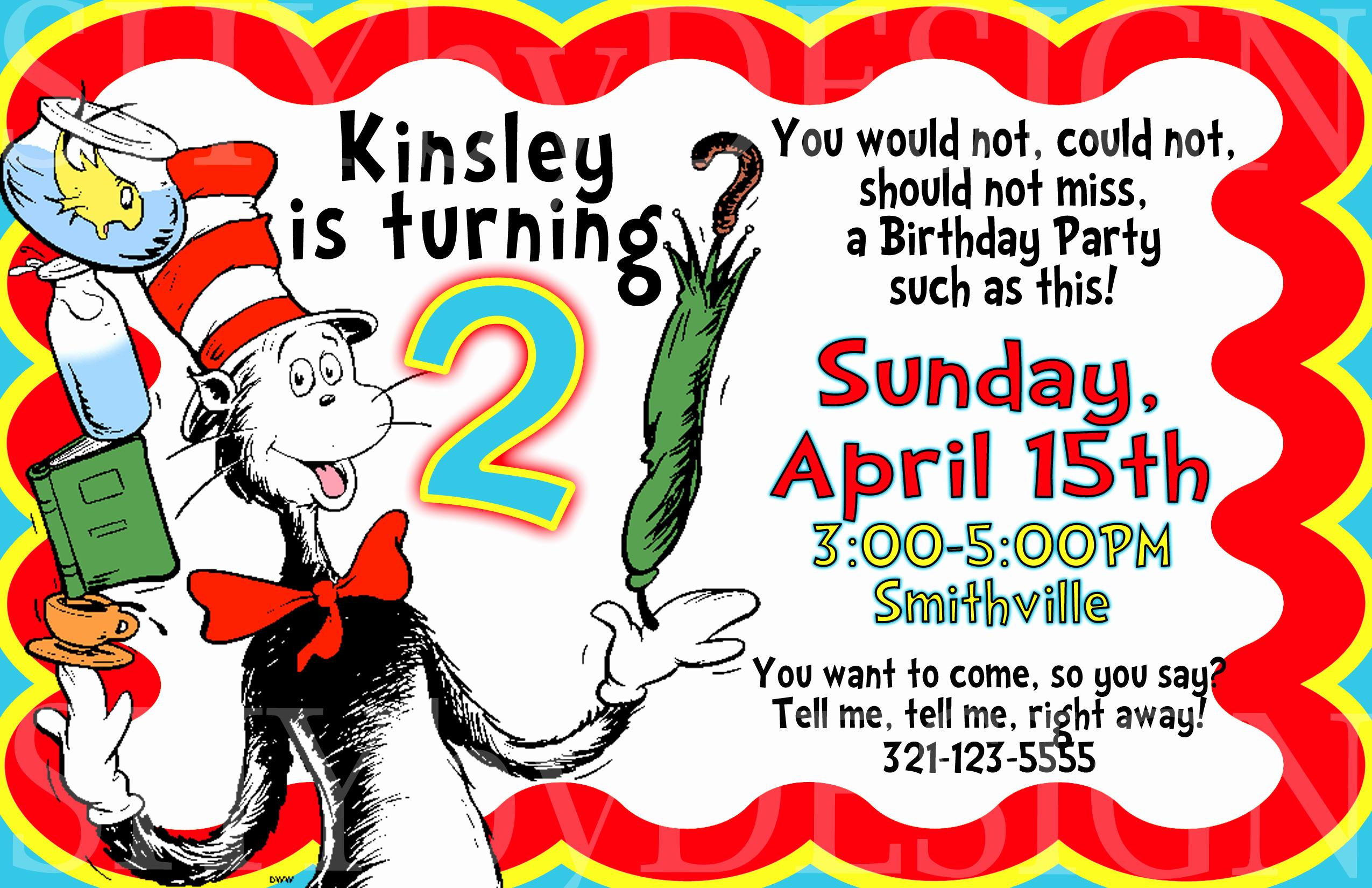 Dr Seuss Invitation Template Elegant Birthday Invitation Cards for Kids