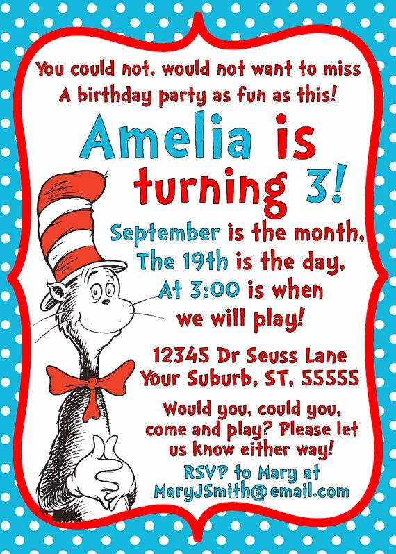Dr Seuss Invitation Template Free Beautiful Dr Seuss Cat In the Hat Invitation Printable by
