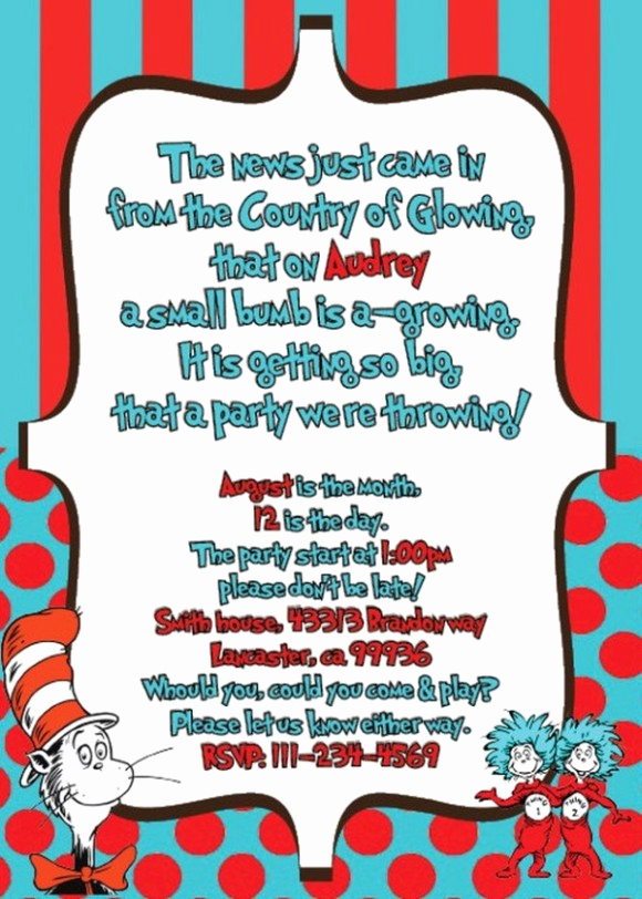Dr Seuss Invitation Template Free Best Of Features Of Dr Seuss Baby Shower Invitations