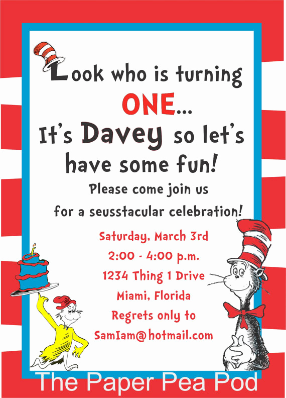 Dr Seuss Invitation Template Free Best Of Free Printable Dr Seuss Birthday Invitations Free