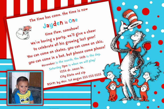 Dr Seuss Invitation Template Free Inspirational Dr Seuss First Birthday Invitations