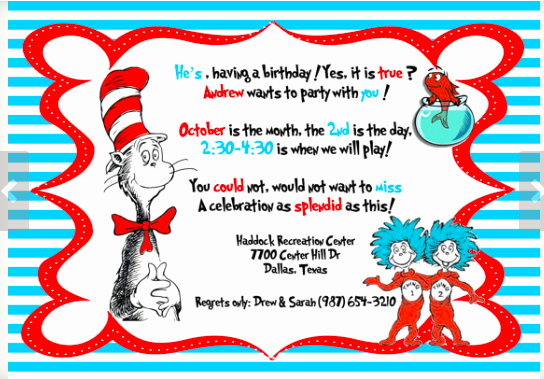Dr Seuss Invitation Template Free Inspirational Dr Seuss theme Party Planning Ideas & Supplies