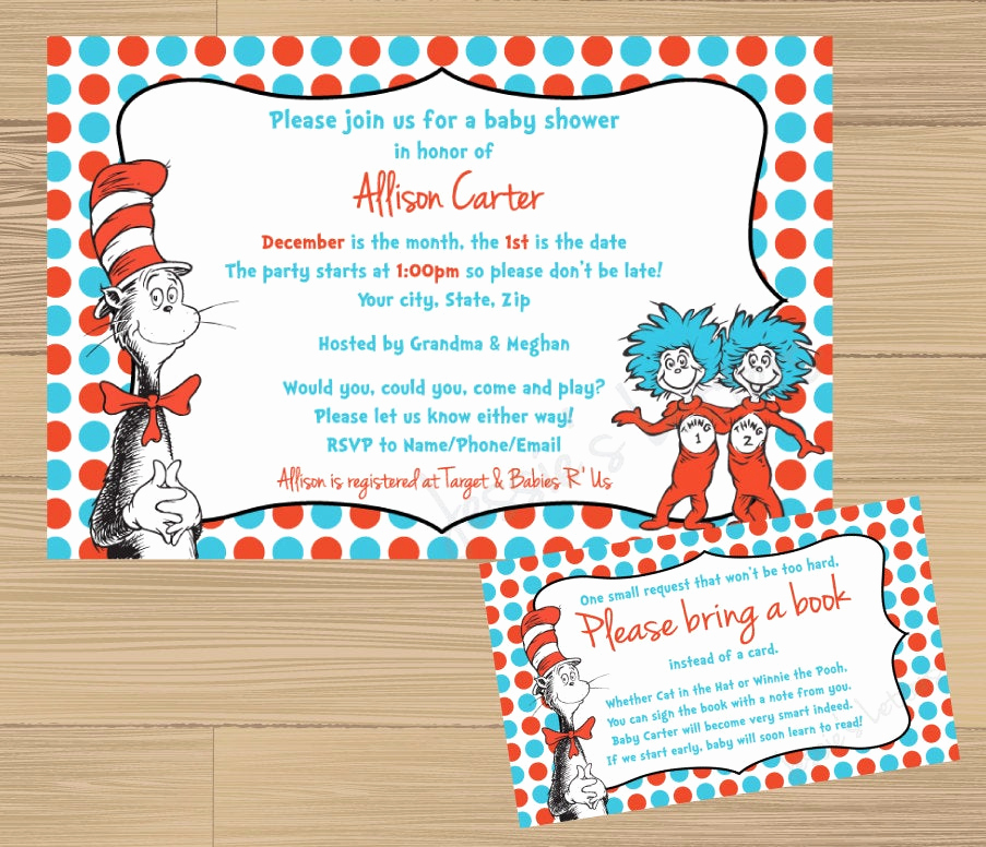 Dr Seuss Invitation Template Free Luxury Custom Made Dr Suess Baby Shower Invitation and Free Insert