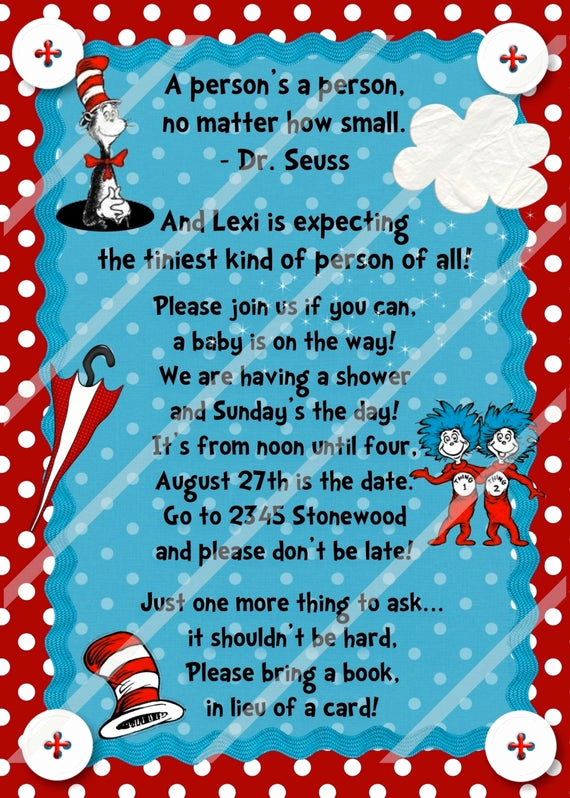 Dr Seuss Invitation Template Free Unique Dr Seuss Book Shower Birthday Custom by Cherrybonbondesigns