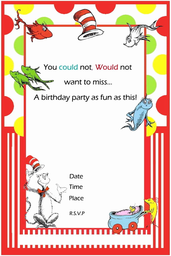 Dr Seuss Invitation Template Free Unique Free Printable Dr Seuss First Birthday Invitations – Free