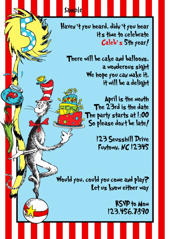 Dr Seuss Invitation Template Inspirational Items Similar to Dr Seuss Birthday Party Invitations Baby