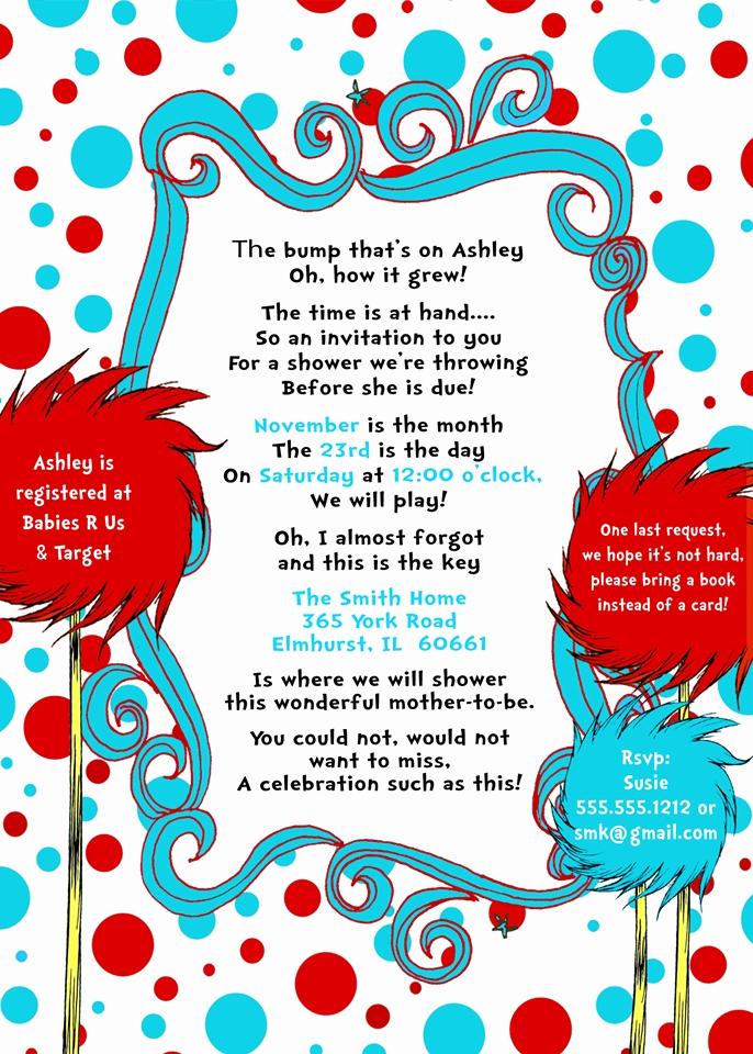 Dr Seuss Invitation Template Luxury Doctor Seuss Baby Shower Invitations