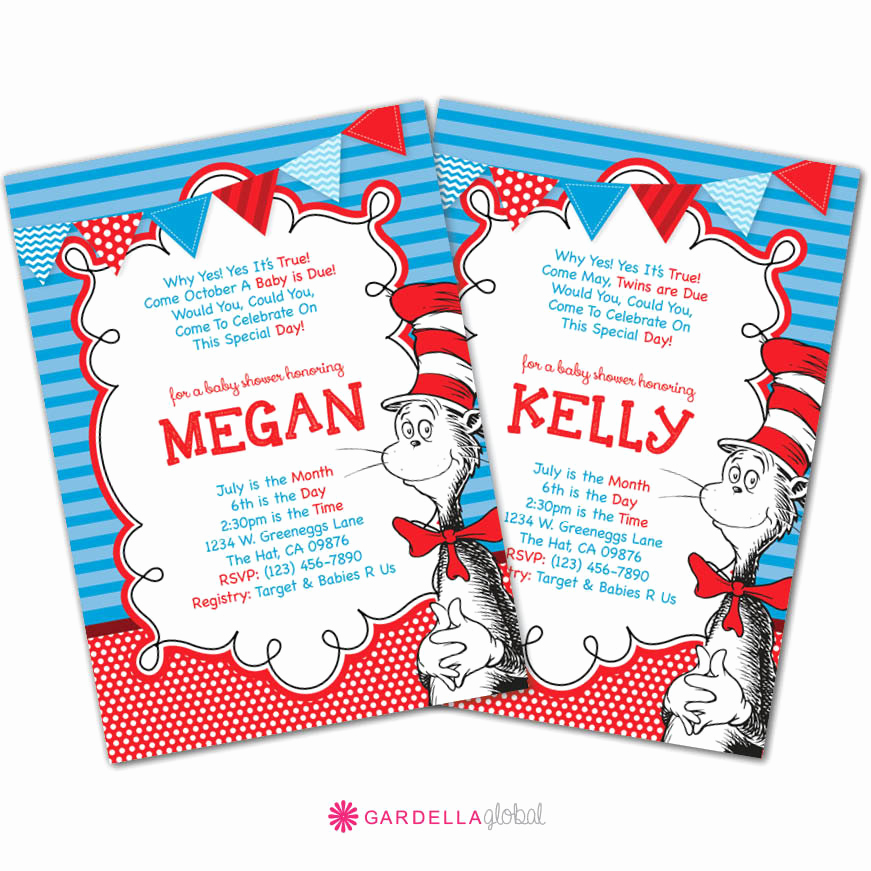 Dr Seuss Invitation Template New Cat In the Hat Baby Shower Invitation Dr Seuss by Dellaevents