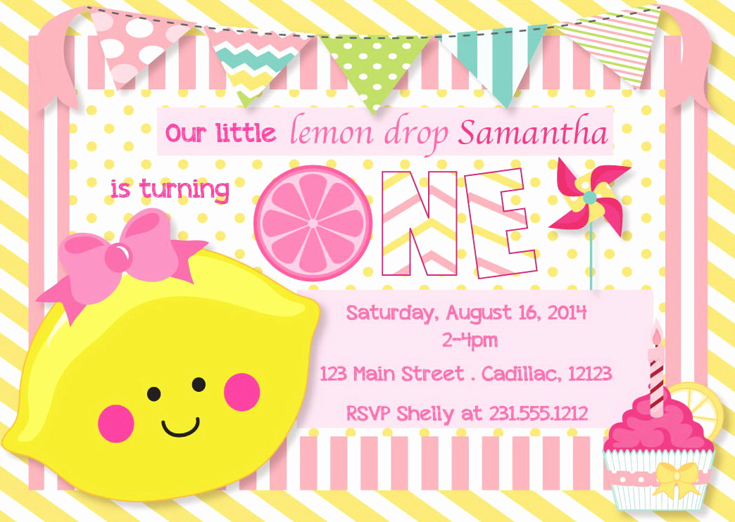 Drop In Shower Invitation Wording Fresh 1st Birthday Invitation Lemon Drop First Birthday Invitation