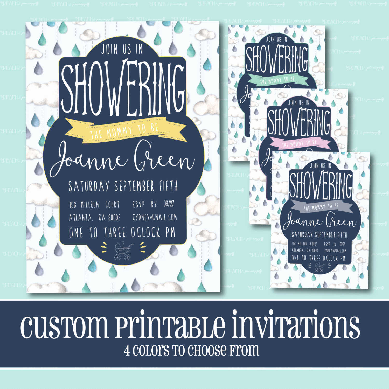 Drop In Shower Invitation Wording Inspirational Custom Baby Shower Invitation Rain Drop Baby Shower