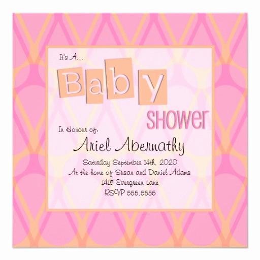 Drop In Shower Invitation Wording Luxury Retro Drop Baby Shower Invitations Pink & orange 5 25