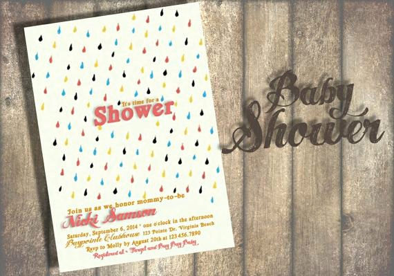 Drop In Shower Invitation Wording New Rain Drop Baby Shower Invitation Digital or Printed Option