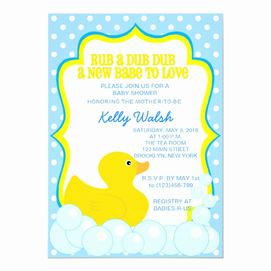 Duck Baby Shower Invitation Templates Lovely Rubber Ducky Baby Shower Invitations