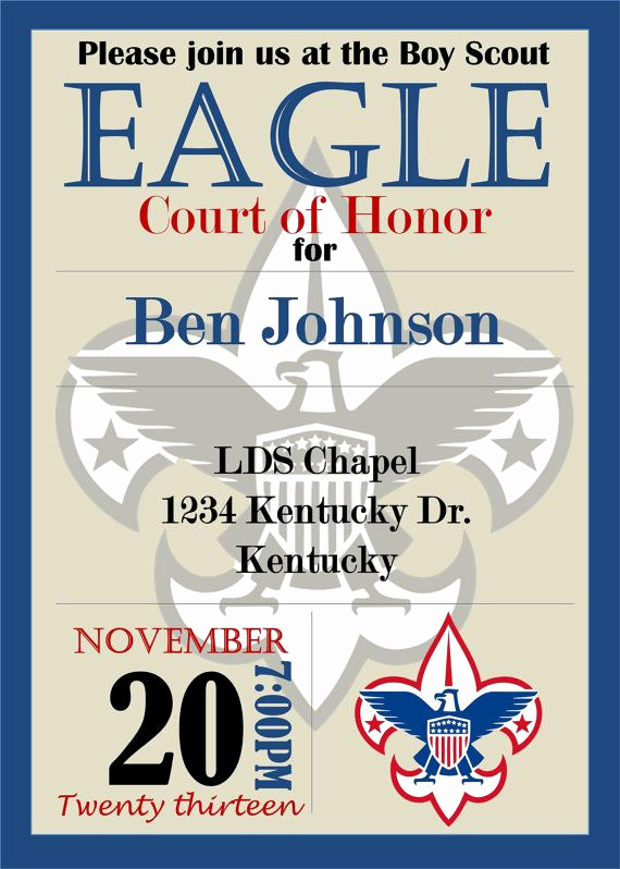 Eagle Scout Invitation Ideas Awesome Eagle Scout Court Of Honor Invitation by