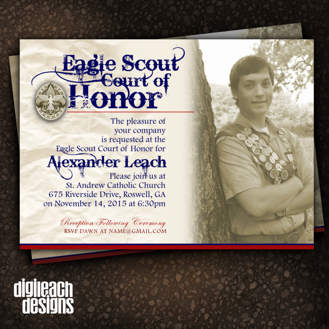 Eagle Scout Invitation Ideas Luxury Eagle Scout Court Of Honor Invitation Crinkle Sepia with