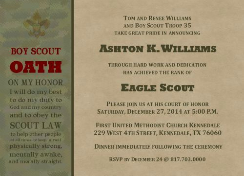 Eagle Scout Invitation Wording Awesome New Acheivement Eagle Scout Invitation