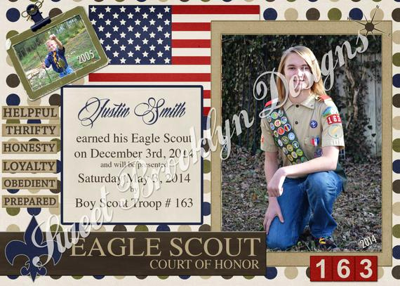 Eagle Scout Invitation Wording Beautiful Boy Scout Eagle Award Court Of Honor Invitation Printed or Pdf