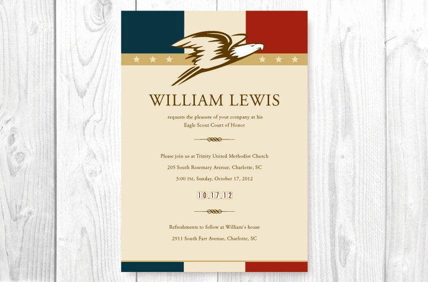 Eagle Scout Invitation Wording Best Of Eagle Scout Court Of Honor Invitations Card American theme